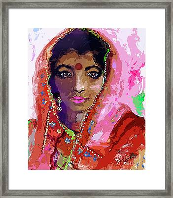Woman With Red Bindi Indian Beauty Framed Print by Ginette Callaway