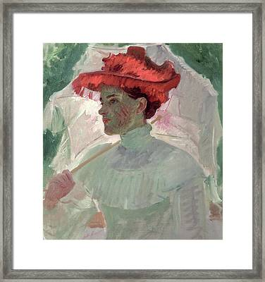Woman With Red Hat And Parasol Framed Print by Frank Duveneck