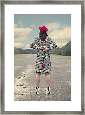 Woman With Red Rose Framed Print by Joana Kruse