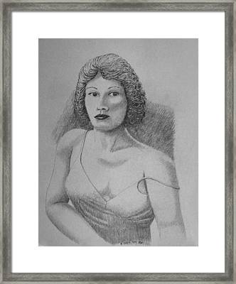 Woman With Strap Off Shoulder Framed Print by Daniel Reed