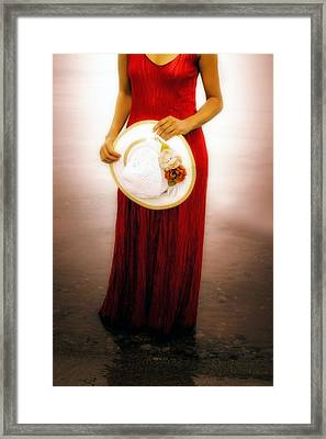 Woman With Straw Hat Framed Print