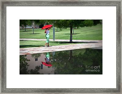Woman With The Red Umbrella Framed Print by Tamyra Ayles