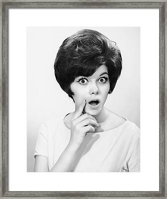 Woman W/mouth Open In Surprise Framed Print by George Marks