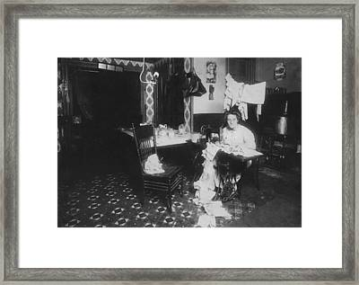 Woman Working In Basement, From Caption Framed Print by Everett