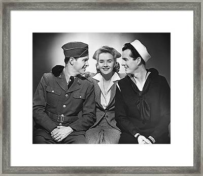 Woman W/two Military Men Framed Print by George Marks