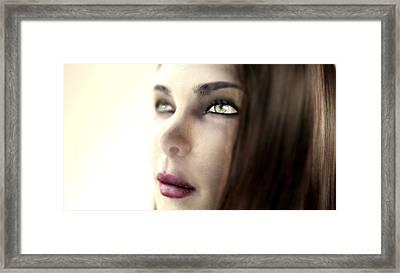 Woman's Face, Computer Artwork Framed Print by Christian Darkin