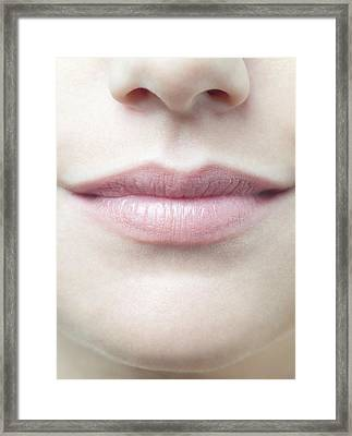 Woman's Mouth Framed Print by