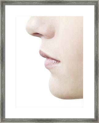 Woman's Nose And Mouth Framed Print