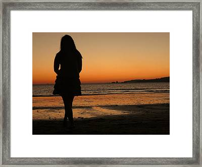Woman's Shade In The Beach Framed Print by Jenny Senra Pampin