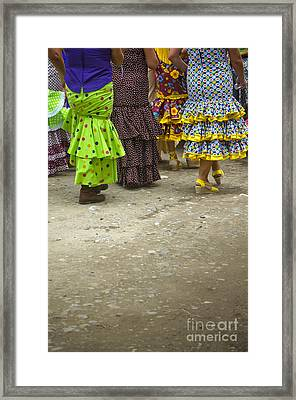 Women And Flamenco Dresses Framed Print by Perry Van Munster