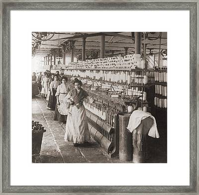 Women And Girls Working In The Spooling Framed Print