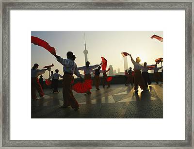 Women Exercise In The Morning By Fan Framed Print