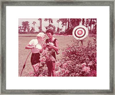 Women Holding Bow And Quiver By Target Framed Print by Archive Holdings Inc.