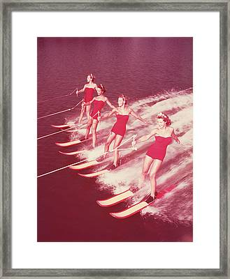 Women Water Skiing Parallel, 1950s Framed Print by Archive Holdings Inc.