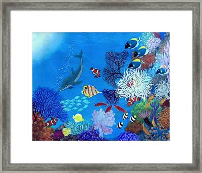 Framed Print featuring the painting Wonder Down Under by Fram Cama