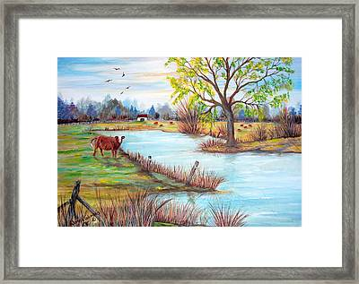 Wonderful Farm Home Framed Print by Janna Columbus