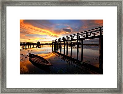 Wood Bridge In Sunset Thailand Framed Print by Arthit Somsakul