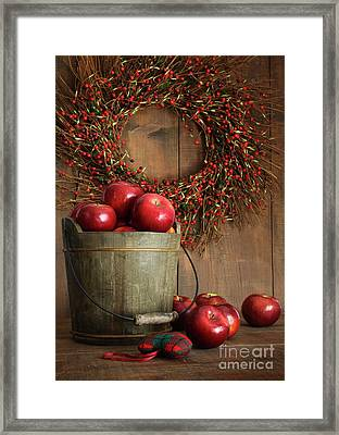 Wood Bucket Of Apples For The Holidays Framed Print by Sandra Cunningham