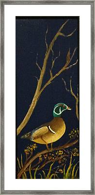 Framed Print featuring the painting Wood Duck by Al  Johannessen