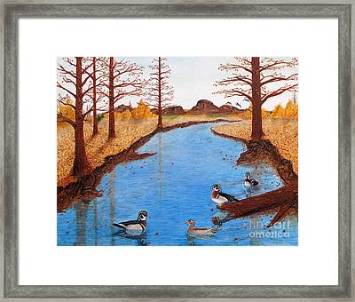 Wood Ducks On Jacobs' Creek Framed Print