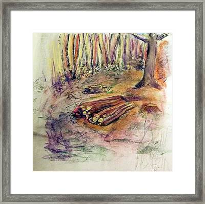 Wood Pile Framed Print by Peter Edward Green
