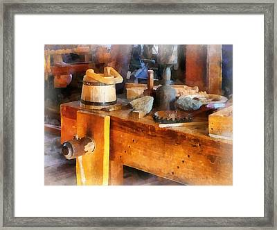 Wood Shop With Wooden Bucket Framed Print by Susan Savad