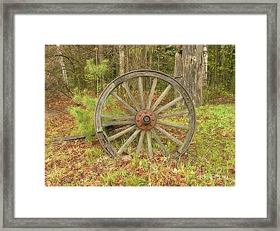Framed Print featuring the photograph Wood Spoked Wheel by Sherman Perry