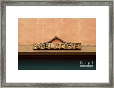Wood Welcome Sign Framed Print by Blink Images