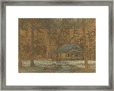 Woodcut Cabin Framed Print by Jim Finch