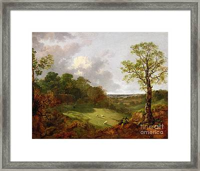 Wooded Landscape With A Cottage - Sheep And A Reclining Shepherd Framed Print by Thomas Gainsborough