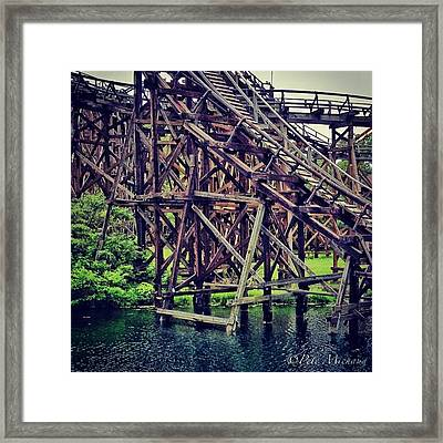 Wooded #rollercoaster At #cedarpoint In Framed Print