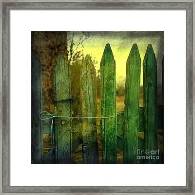 Wooden Barrier Framed Print by Bernard Jaubert