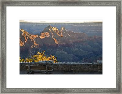 Wooden Bench At Canyon Framed Print