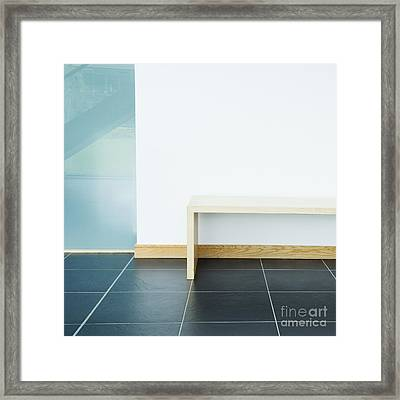 Wooden Bench In Modern Office Framed Print by Iain Sarjeant