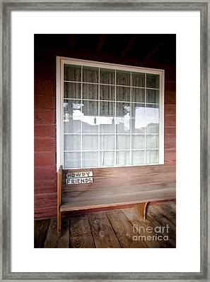 Wooden Bench On Rustic Porch Framed Print by Eddy Joaquim
