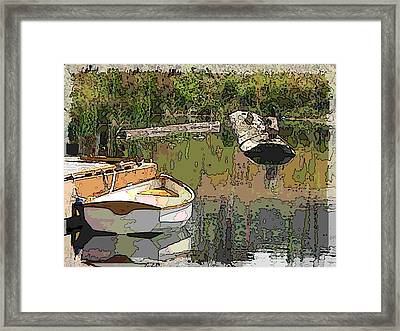 Wooden Boat Placid Framed Print by Tim Allen