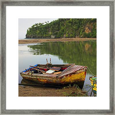 Framed Print featuring the photograph Wooden Boat- St Lucia by Chester Williams