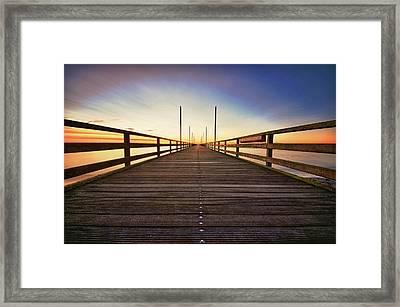 Wooden Bridge At Baltic Sea Framed Print by Siegfried Haasch
