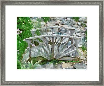 Wooden Bridge On Stone Creek Framed Print by Kim Ezra Shienbaum