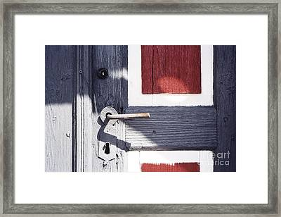 Framed Print featuring the photograph Wooden Doors With Handle In Blue by Agnieszka Kubica
