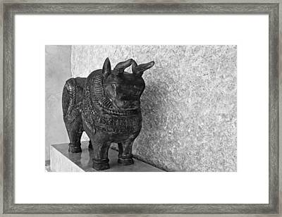 Wooden Hand Carved Ornamental Bull Framed Print by Kantilal Patel