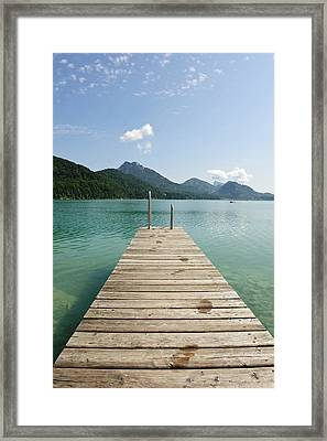 Wooden Jetty Out To Lake Fuschl Framed Print by Buero Monaco