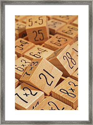 Wooden Number Puzzle Framed Print by David Gould