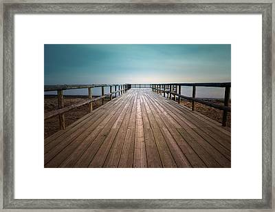 Wooden Pier Framed Print by Christian Callejas