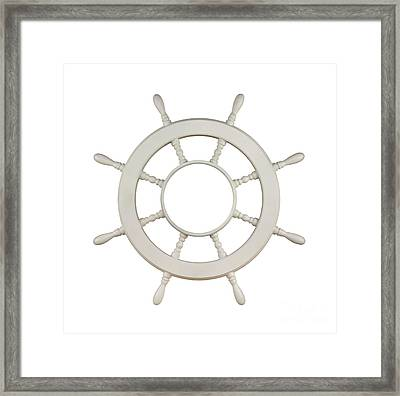 Wooden Sail Boat Wheel Framed Print by Blink Images