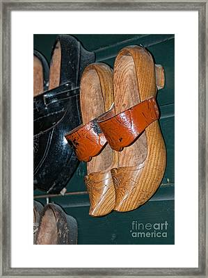 Wooden Shoe Sandals Framed Print by Carol Ailles