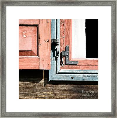 Framed Print featuring the photograph Wooden Windows Shutters In Coral by Agnieszka Kubica