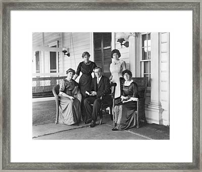 Woodrow Wilson With His First Wife Framed Print by Everett
