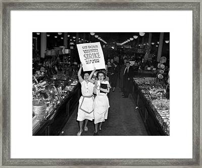 Woolworth Workers Go On Strike In New Framed Print by Everett
