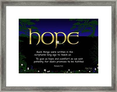 Word Of Hope Framed Print by Greg Long